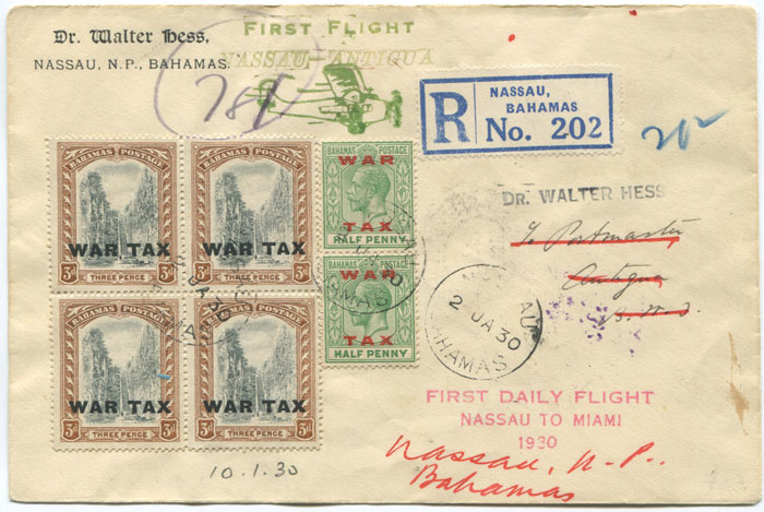 1930 (2 Jan) registered First Flight cover Bahamas - Antigua via Miami