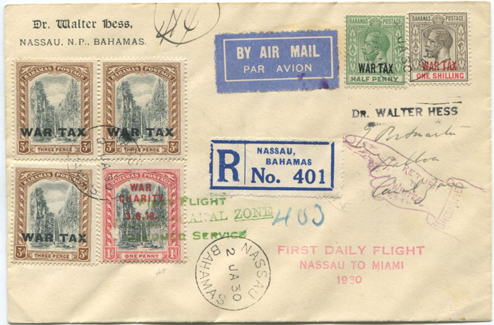 1930 (2 Jan) registered First Flight cover Bahamas - Canal Zone via Miami