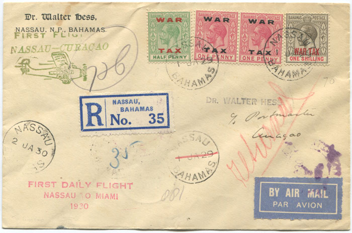 1930 (2 Jan) registered First Flight cover Bahamas - Curacao via Miami