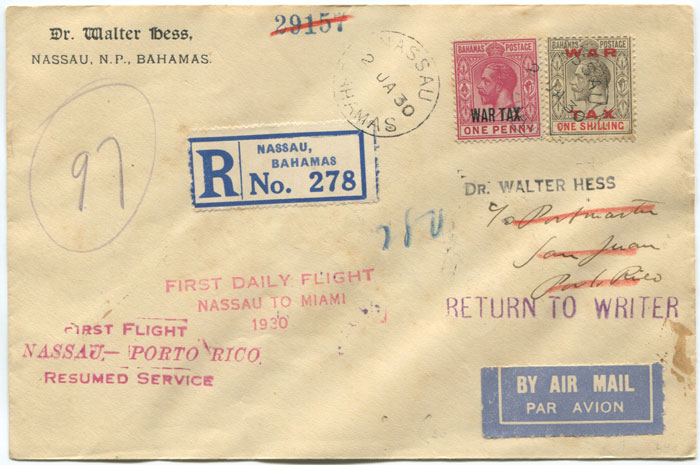 1930 (2 Jan) registered First Flight cover Bahamas - Puerto Rico via Miami