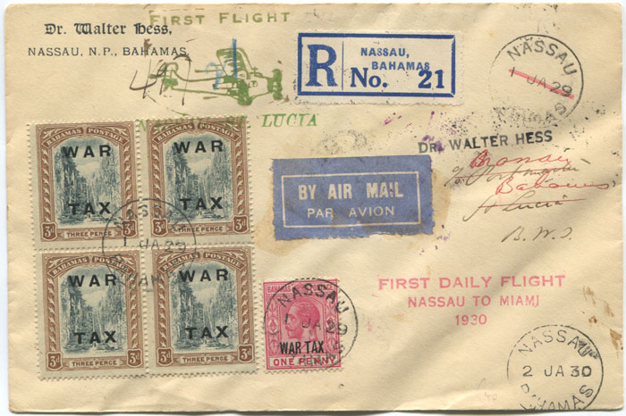 1930 (2 Jan) registered First Flight cover Bahamas - St Lucia via Miami