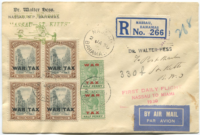 1930 (2 Jan) registered First Flight cover Bahamas - St Kitts via Miami