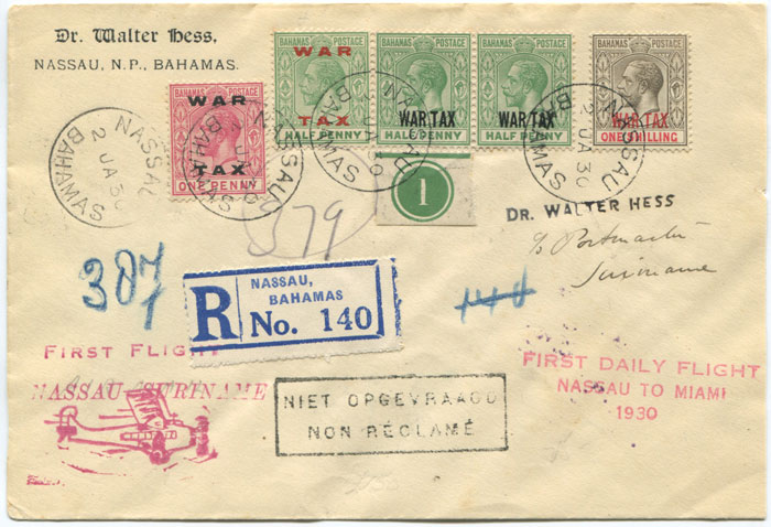 1930 (2 Jan) registered First Flight cover Bahamas - Suriname via Miami
