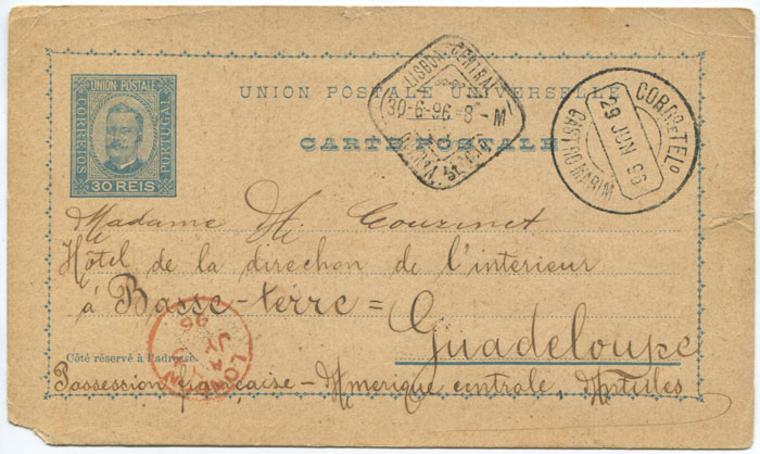 1896 Portugual 30r postal stationery card used to Guadeloupe