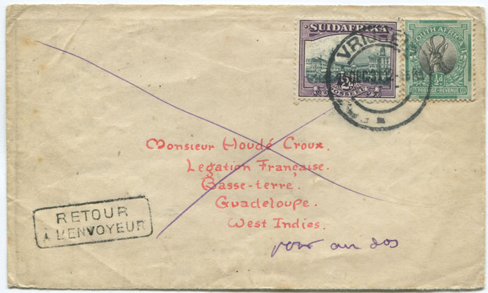 1931 cover from South Africa to Guadeloupe  forwarded to Ireland