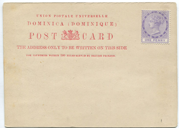 1882 Dominica postal stationery 1d formular card