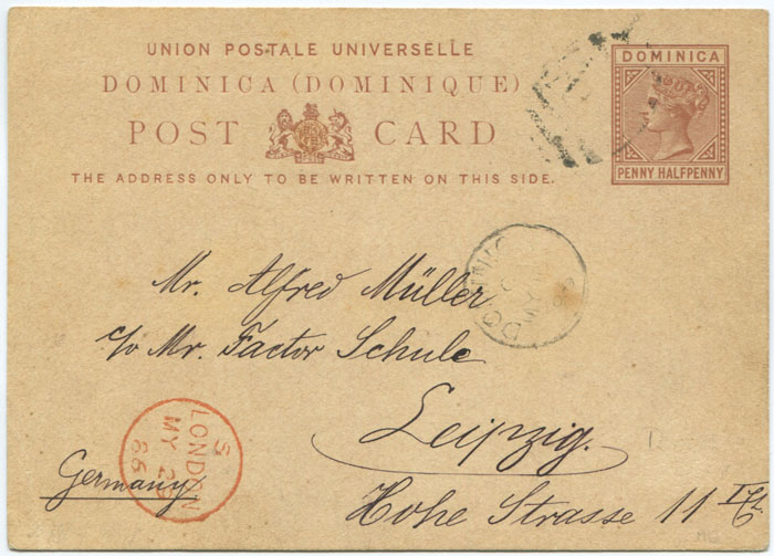 1879 Dominica postal stationery 1�d postal card,