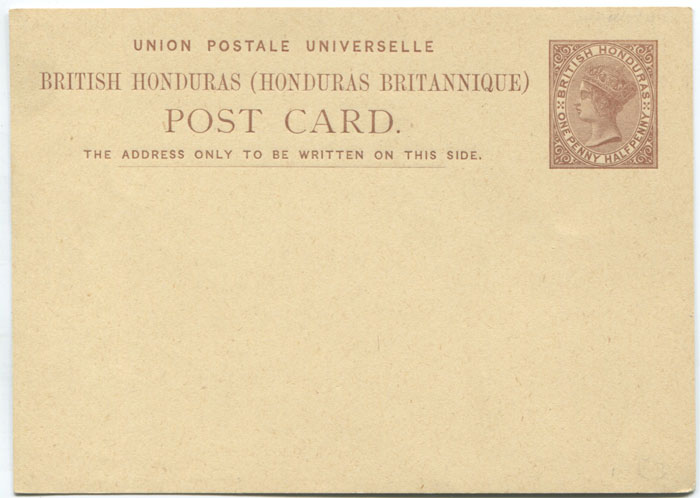 1879 British Honduras 1�d postal stationery card