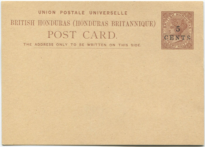 1888 British Honduras 5c on 1�d postal stationery card