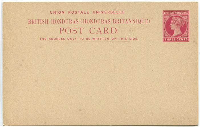 1891-2 British Honduras 3c postal stationery card