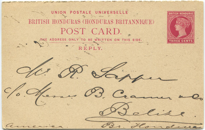 1891-2 British Honduras 3c + 3c postal stationery replycard