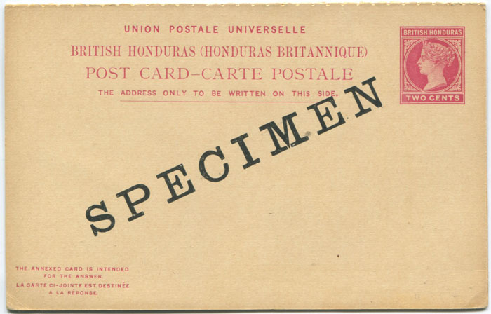 1902 British Honduras 2c + 2c postal stationery replycard