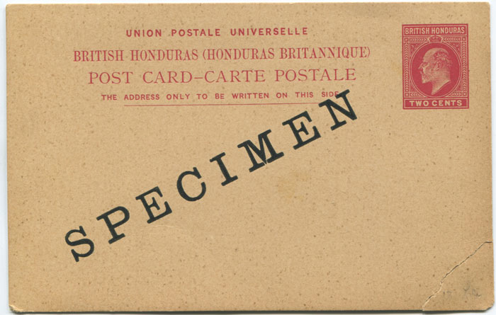1902 British Honduras EDVII 2c postal stationery card