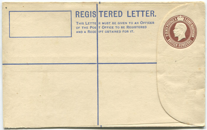 1912 British Honduras 2c + 3c postal stationery registered envelope