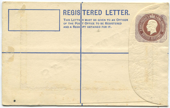 1915 British Honduras 2c + 3c postal stationery registered envelope