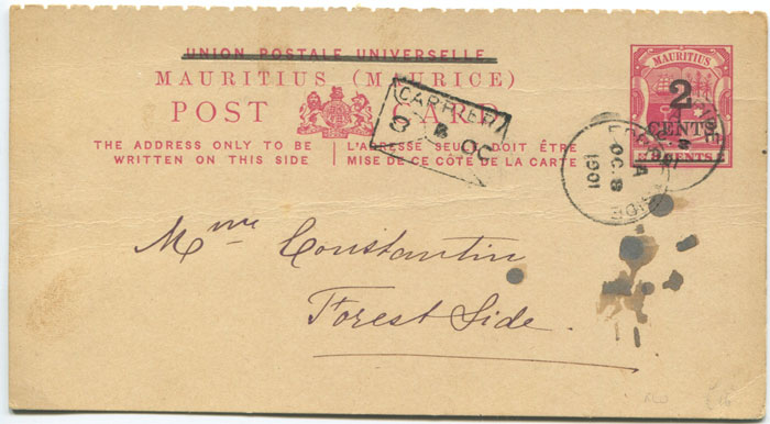 1901 Mauritius postal stationery 2c on 8c postal card