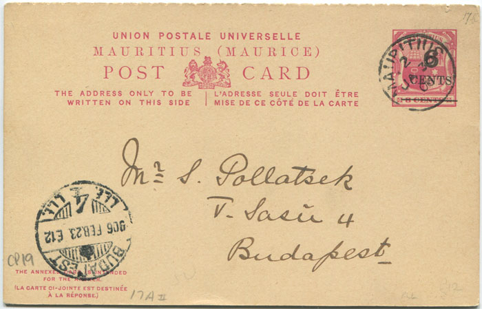 1906 Mauritius postal stationery 6c on 8c reply postal card