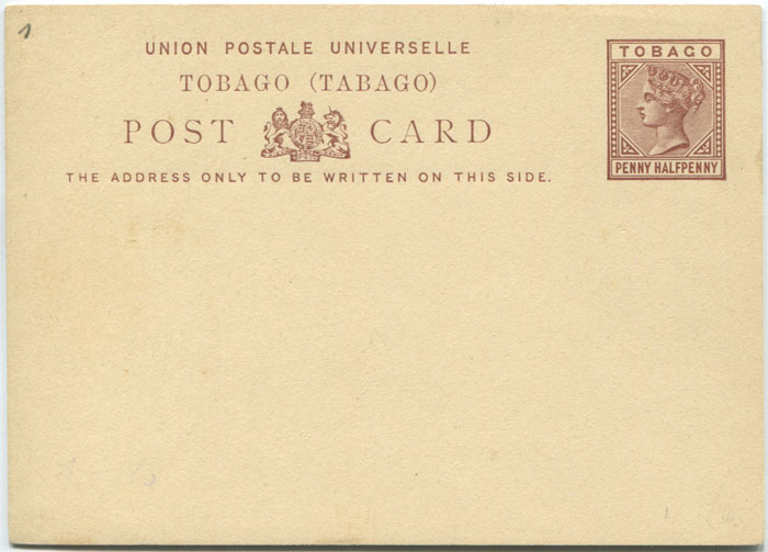 1881 Tobago postal stationery 1�d postal card