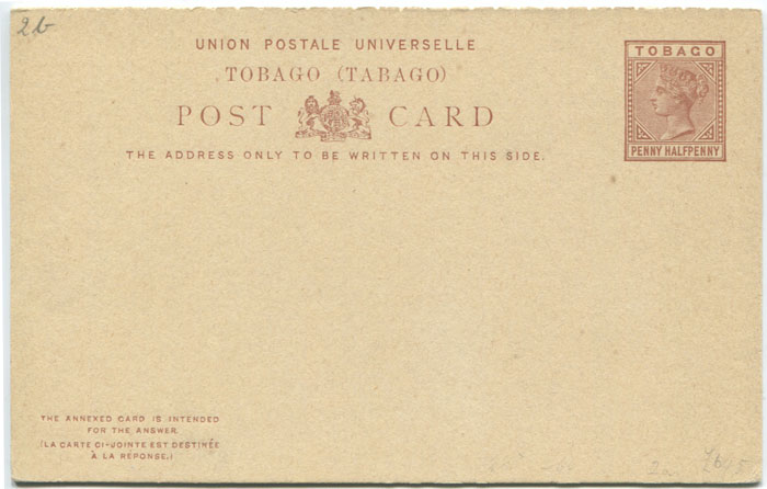 1883 Tobago postal stationery 1�d reply postal card