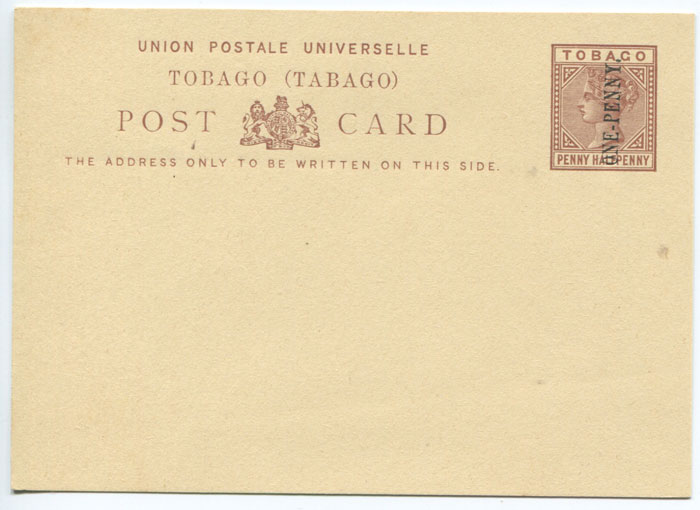 1892 Tobago postal stationery ONE PENNY on 1�d postal card