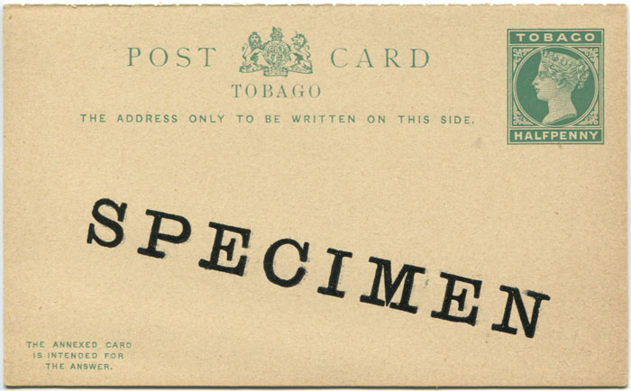1892 Tobago postal stationery �d postal reply card overprinted Specimen