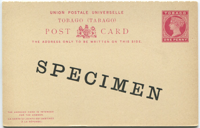 1892 Tobago postal stationery 1d postal reply card overprinted Specimen