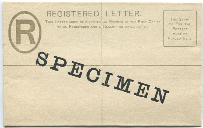 1892 Tobago postal stationery 2d registered envelope overprinted Specimen