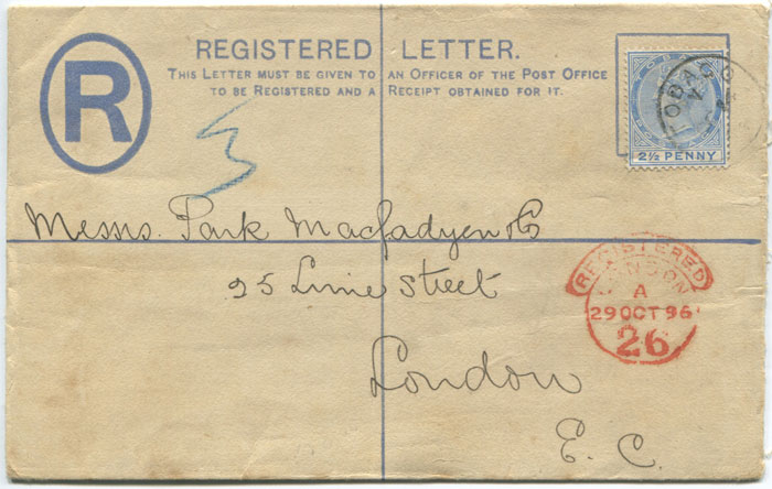 1892 Tobago postal stationery 2d registered envelope