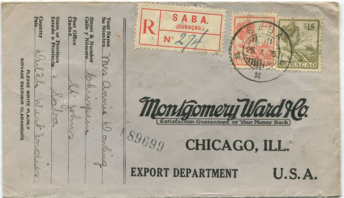 1925 SABA cds on registered cover to U.S.A.