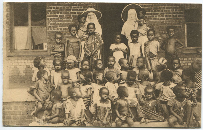 1929 Belgium Congo picture postcard of orphanage with COQUIL HATVILLE cds