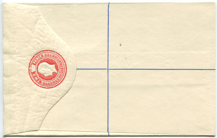 1912 Bahamas 2d postal stationery registered envelope ovptd. Specimen