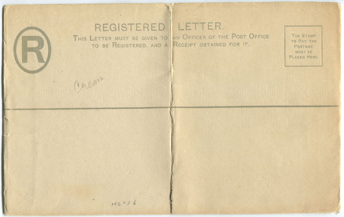 1892 Tobago 2d postal stationery registered envelope