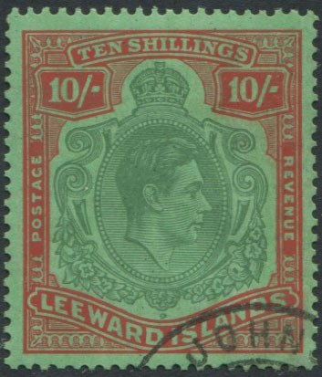 1938-51 Leewards 10/- (SG113c), corner cds cancel, f.u.