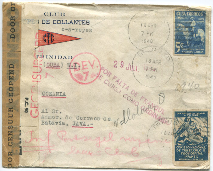 1940 (18 Apr) Cuba censored cover to Java.