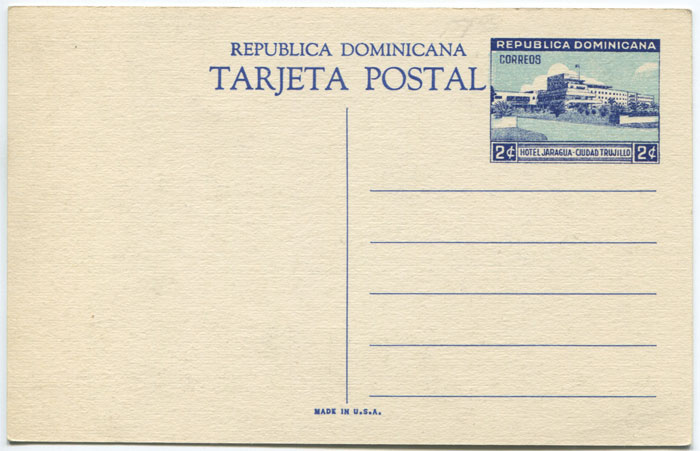 1949 Dominican Republic 2c postal stationery postal card