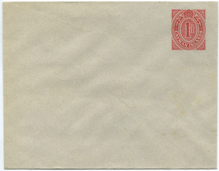 1909 Cayman Islands 1d postal stationery envelope
