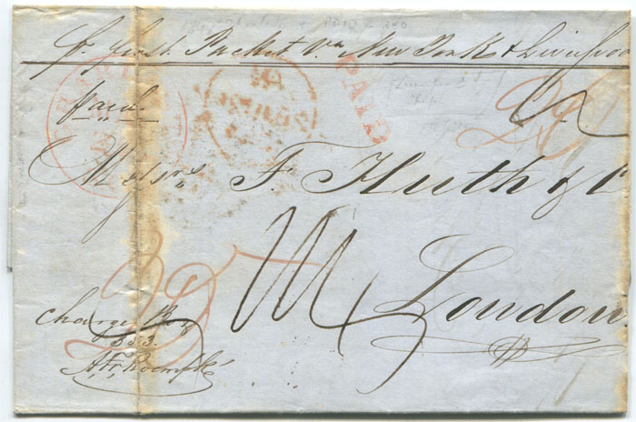 1847 (1 Jun) boxed LIVERPOOL SHIP ds on EL from Charleston to London