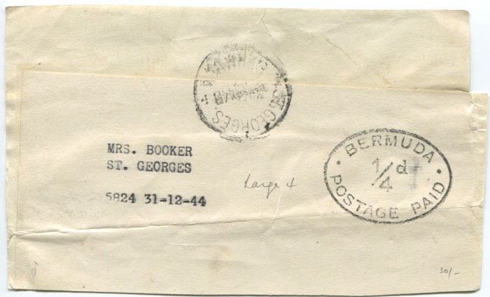 1944 Bermuda �d Postage Paid h/s on plain wrapper with St Georges cds.