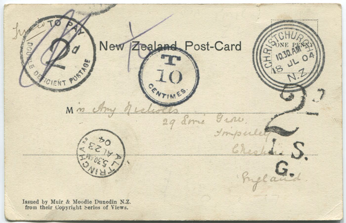 1904 New Zealand postcard with postage due marks.