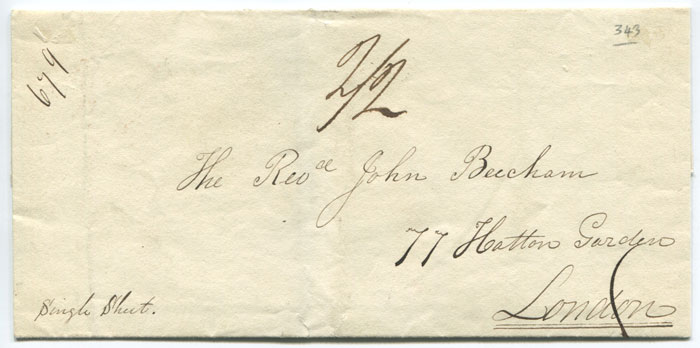 1833 (Jun) BAHAMAS s/l h/s (B1) on cover to London
