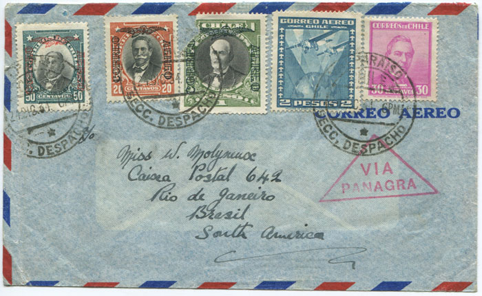 1934 (24 Dec)) airmail cover from Chile to Brazil with