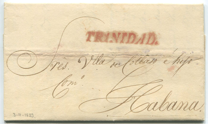 1839 EL with TRINIDAD (Cuba) handstamp in red