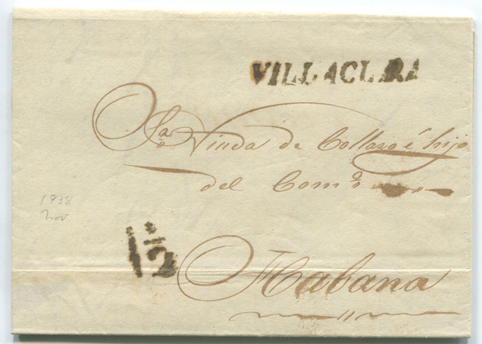 1838 old Cuba cover with fine straight line VILLACLARA