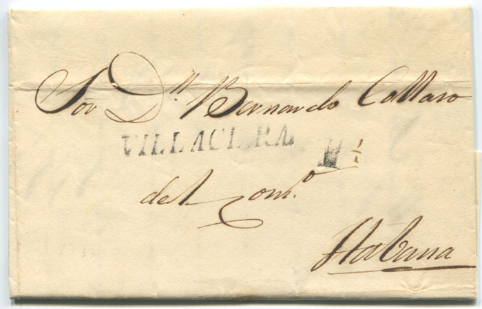 1833 old Cuba entire letter with fine straight line VILLACLARA