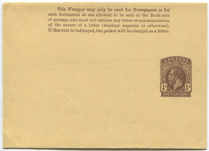 1912 Grenada postal stationery �d newspaper wrapper