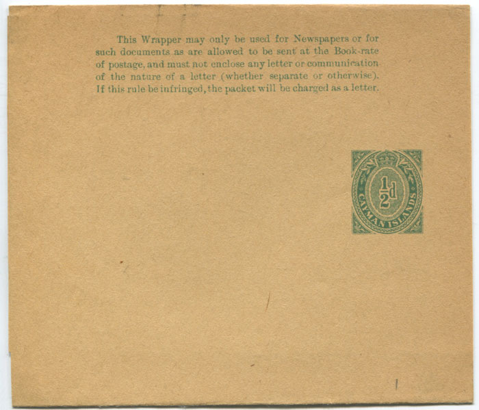 1909 Cayman Islands �d postal stationery newspaper wrapper