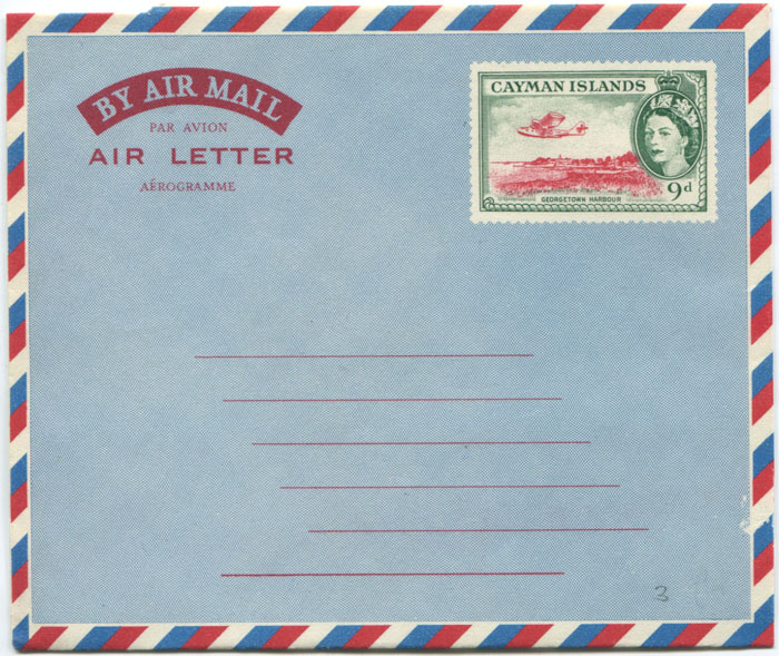 1958 Cayman Islands 9d postal stationery airletter