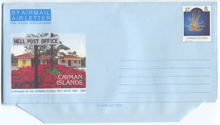 1989 Cayman Islands 10c postal stationery airletter