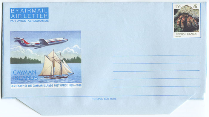 1989 Cayman Islands 15c postal stationery airletter