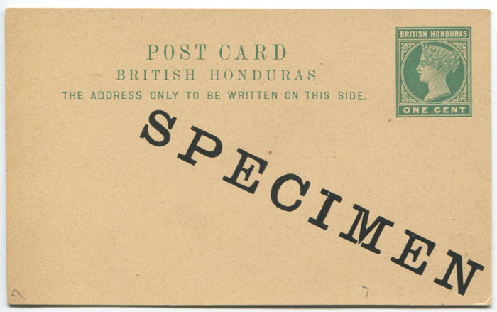 1898 British Honduras 1c postal stationery postal card